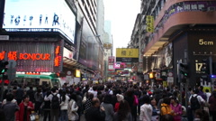 Crowded Kowloon Street - stock footage