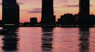 New York-Boat Cruising at NJ Sunset Stock Footage