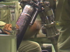 Military, hand crank elevation mortar Stock Footage