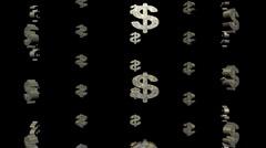 Many dollar symbols rotating animation Stock Footage