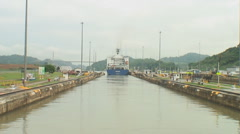Panama Canal: Following a ship exiting locks - stock footage