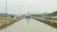 Stock Video Footage of Panama Canal: Following a ship exiting locks