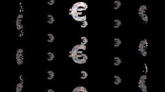 Many euro symbols rotating animation Stock Footage