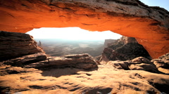 Panorama Through Mesa Arch, Utah Stock Footage