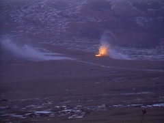 Military, Red Phosphorous artillery barrage, medium shot Stock Footage