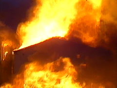 Fire, Seed mill fire, #18 zoom out reveal, massive dramatic fire! Stock Footage