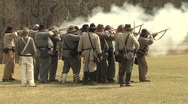 Stock Video Footage of Confederate Rifle Fire 2