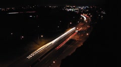 Futuristic Traffic at night in the City Stock Footage