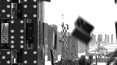DOMINOS 19_CITY_COLLAPSE_TRACK  Stock Footage