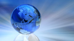 Rotating glass Earth globe Stock Footage