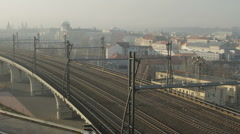 Trains moves through the city. Stock Footage