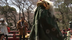 Cherry Blossom inTokyo Ueno park traditional danse and music Stock Footage