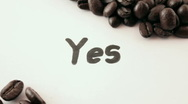 Yes.  written on white under coffee Stock Footage
