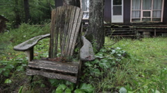 Rainy chair. Two shots. Stock Footage