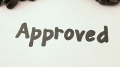 Approved. written on white - stock footage