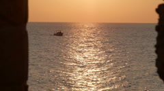 Boat sunset P1 Stock Footage