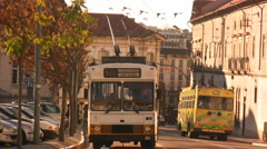 Electric bus in Coimbra Stock Footage