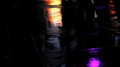 feet walking. rainy night night. atmospheric reflections Copy - stock footage