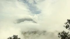 Clouds over the summit of Tungurahua Volcano, Ecuador Stock Footage