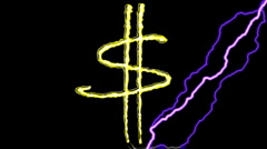 GOLD DOLLAR SIGN,Electric arc draws golden Dollar sign on black background. Stock Footage