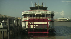 Old-time paddlewheel steamboat. Stock Footage