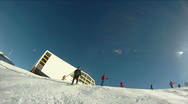 Running infront of a skier Stock Footage