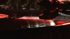 Record pleyer, blue light and smoke Stock Footage