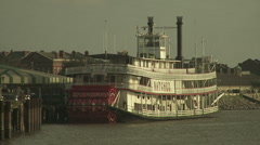 Old-time paddlewheel steamboat Stock Footage