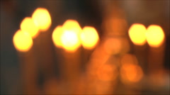 Church candles out of focus Stock Footage
