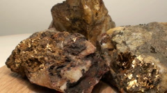 Gold ore, quartz Stock Footage