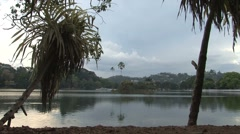 Lake at The Temple of the Tooth, Kandy, Sri Lanka Stock Footage