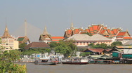Stock Video Footage of Long Boat in Front of Grand Palace, Bangkok