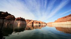 Lower Water Levels in Lake Powell, Arizona Stock Footage