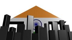 Skyline and Indian flag arrow animation Stock Footage