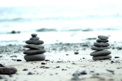 Zen Style Stones by the Sea  Stock Footage