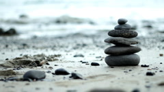 Zen Style Stones by the Sea  - stock footage