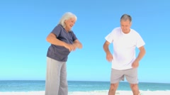 Aged couple doing flexibility exercice Stock Footage