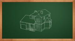 Chalkboard house Stock Footage