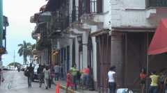 Panama: Street scene Casco Viejo old quarter Stock Footage