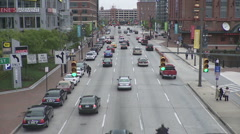 City Street in time lapse, Baltimore, Maryland Stock Footage