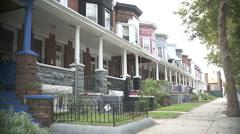 Row of Houses in neighborhood  - stock footage