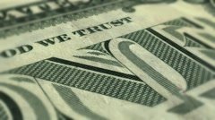Dollar bill slow pan with shallow DOF Stock Footage