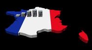 Euros graph on France map flag animation Stock Footage