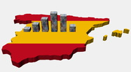 Euros graph on Spain map flag animation Stock Footage