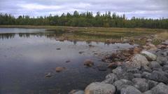 Oxbow lake&stones1 Stock Footage