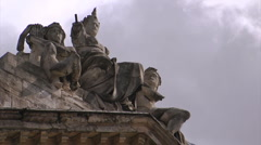 Antique statue and clouds timelapse Stock Footage