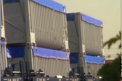 TRASH  CONTAINERS ON RAIL CARS Stock Footage