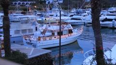 Boats at bay at night in San Carlos, Mexico (HD)m Stock Footage