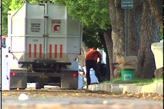 CURBSIDE GARBAGE COLLECTION 2 Stock Footage