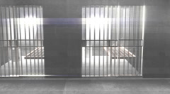 t310 prison cells strange beautiful weird light - stock footage